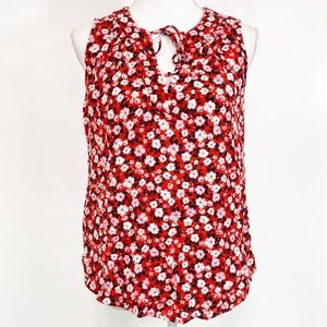 Old Navy Red Floral Print Sleeveless Blouse Medium